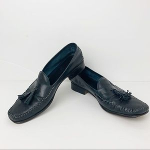 Cole Haan Black Leather Tassel Loafers size 8 AA